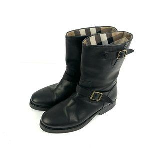BURBERRY Wingfield Boots 37.5 Black Leather Moto